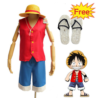 One Piece Monkey D Luffy Cosplay Costume Halloween Cosplay For Boy Japanese Anime Carnival Adult Men