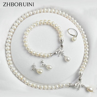 ZHBORUINI Pearl Jewelry Sets Natural Freshwater 925 Sterling Silver Jewelry Bow Pearl Necklace Earrings Bracelet For Women Gift