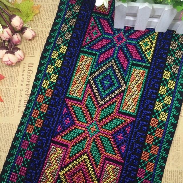 US $15 5  miao cross stitch crochet fabric lace trim 24cm dress collar  ribbon tape webbing ethnic tribal nepal thai india boho gypsy DIY-in Lace  from