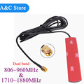 dual band gsm antenna 806-960Mhz 1710-1880Mhz glued strip  patch antenna SMA-Male connector Aerial 3 M Cable