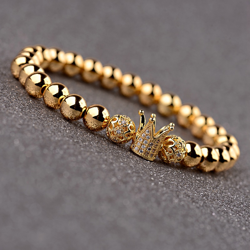 OIQUEI 2Pcs Set Couple Bracelets For Women Men 2019 Gold 8mm Copper Bead CZ Crown Beaded Charm Bnagles Bracelet Luxury Jewelry in Strand Bracelets from Jewelry Accessories