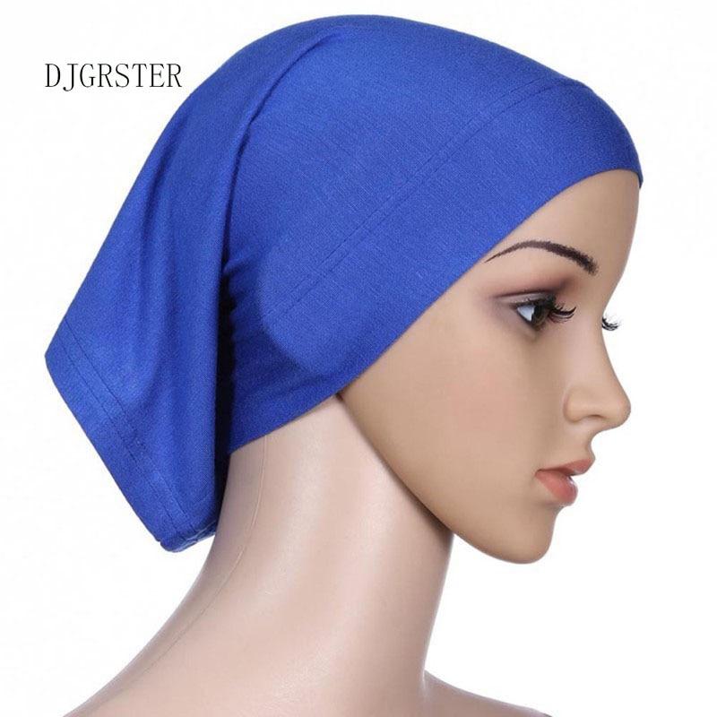 DJGRSTER Stretchable Hijab Underscarf Cap Shawl Muslim Islim Scarf Inner Headband Hijab Polyester Fiber 15 Colors Wholesale