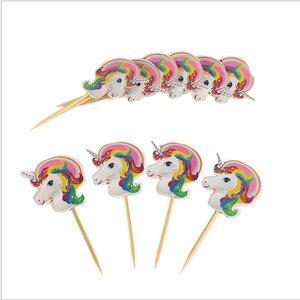 Image 4 - Lote de 24 unidades de insertos para pastel de unicornio, palillos de fruta para pastel de cumpleaños, insertos de materiales de decoración para boda
