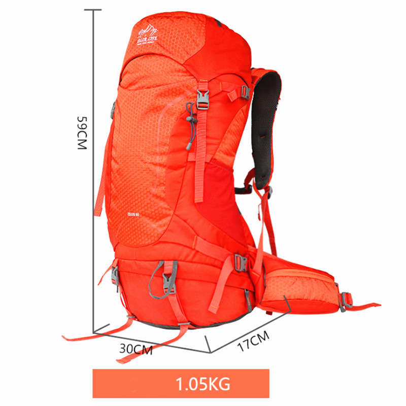50L Waterproof Climbing Hiking Backpack Rain Cover Bag Camping Mountaineering Backpack Sport Outdoor Bike Bag Travel Sport Equip in Climbing Bags from Sports Entertainment