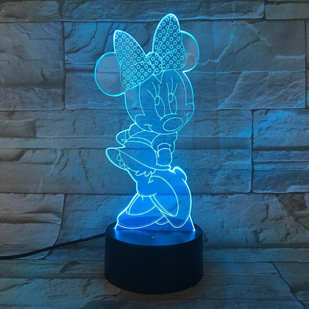 Lampada del fumetto di Mickey 7 Colori Mutevoli USB 5 V 3D illusione ottica Luce di Notte Della Novità Tattile Lampada di Lava 3D-814