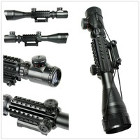 C4 12X50EG Tactical Optical Rifle Scope Red Green Dual Illuminated W Side Rails Mount Hunting Airsoft