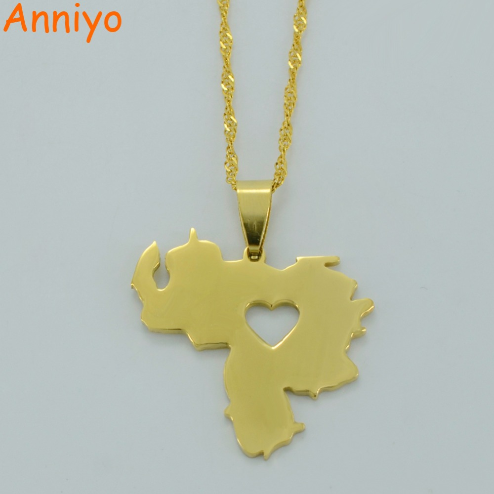 Anniyo Two Model of Venezuela Map Pendant Necklace for Women Gold Color Jewelry Venezuelan Items #005721 qi ra gold color rear belt pendant with leather rope handmade party jewelry han solo a story of star wars necklace for women