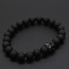 His And Hers Bracelets Distance Black Matte & White Beads Cz Crown King Charm Stone Bracelet Lovers