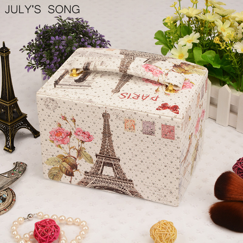 Image 4 - JULYS SONG Jewelry Organizer Box Leather Earring Storage Box 