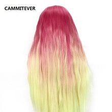 CAMMITEVER Red Yellow Mannequin Wave Hair Hairdressing Training Head 100% High Temperature Fiber Thick Hair Mannequin Head(China)