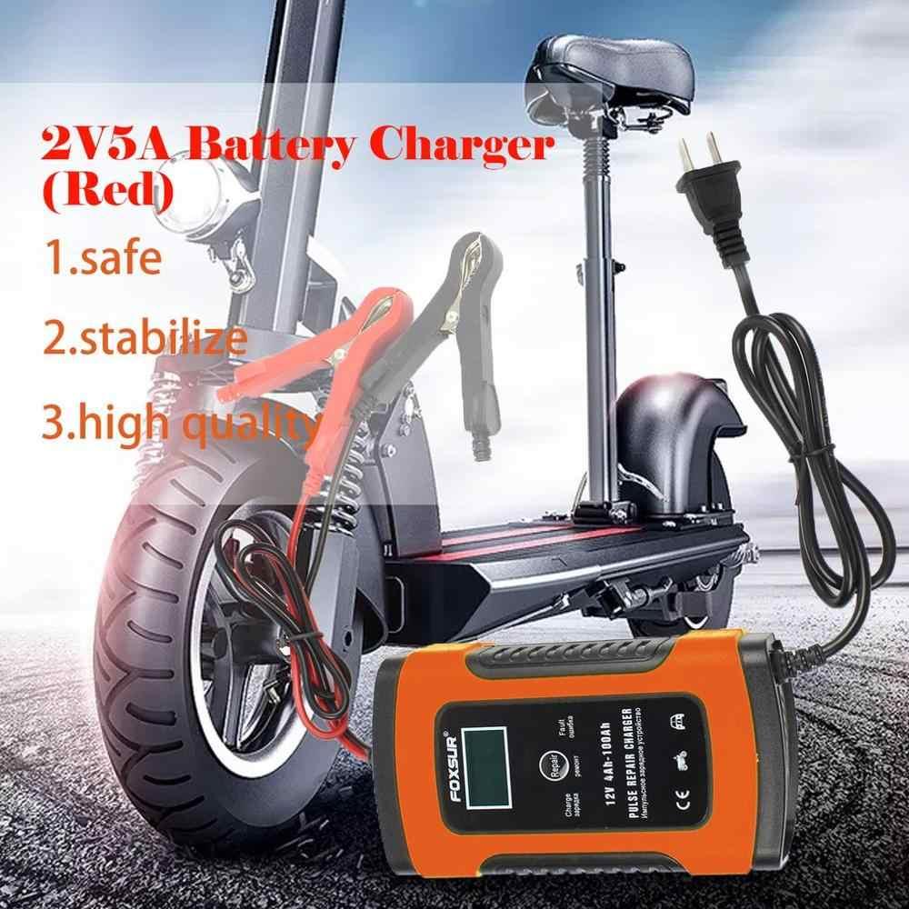 Mobil Merah Baterai Charger Mobil Motor Cerdas Pulse Perbaikan 12V 5A LCD Sepeda Motor Pengisian Baterai Perangkat