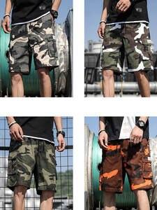 Joggers Shorts Safari-Style Vintage Male Mens Summer Hip-Hop New DK19029 Big-Pockets