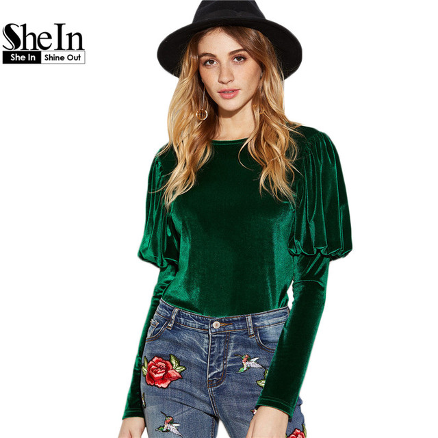 SheIn Women Clothes Spring Women Blouses Round Neck Green Long Puff Sleeve Button Keyhole Back Slim Velvet Blouse