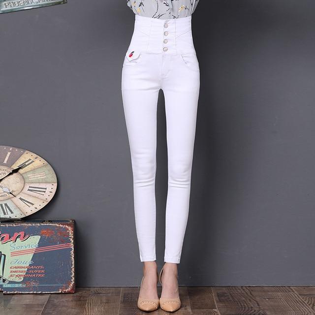 21a1216f973 Fengmeisi mujeres Altos Pantalones Vaqueros Mujer Pantalones Vaqueros de  Cintura Alta Elástica más el tamaño de
