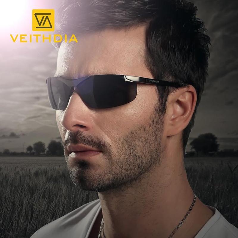 Veithdia ماركة الرجال الاستقطاب النظارات بدون شفة المستطيل القيادة نظارات مرآة الرياضة رجل نظارات شمس للرجال 6501
