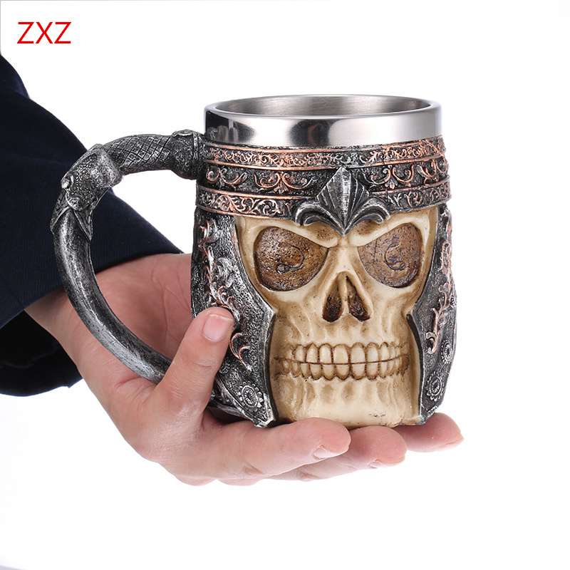 Skull cup action figure model toys  Fashion Mens Punk Veel Skull fancy Creative action figure toys Skeleton model decor collect airsoft adults cs field game skeleton warrior skull paintball mask