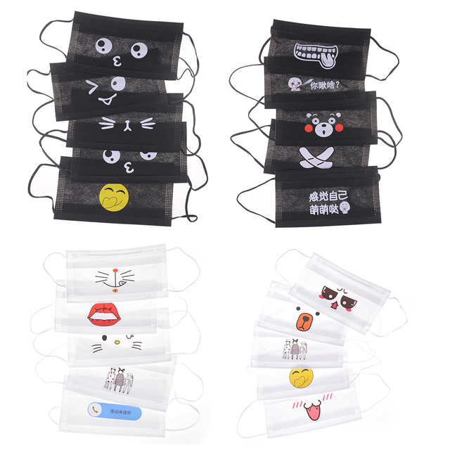 1/5/10Pcs Anti-dust Windproof Masks KAWAII Disposable Mouth Mask Cute Cartoon Non-woven Mouth-muffle Flu Face Medical Mask 1