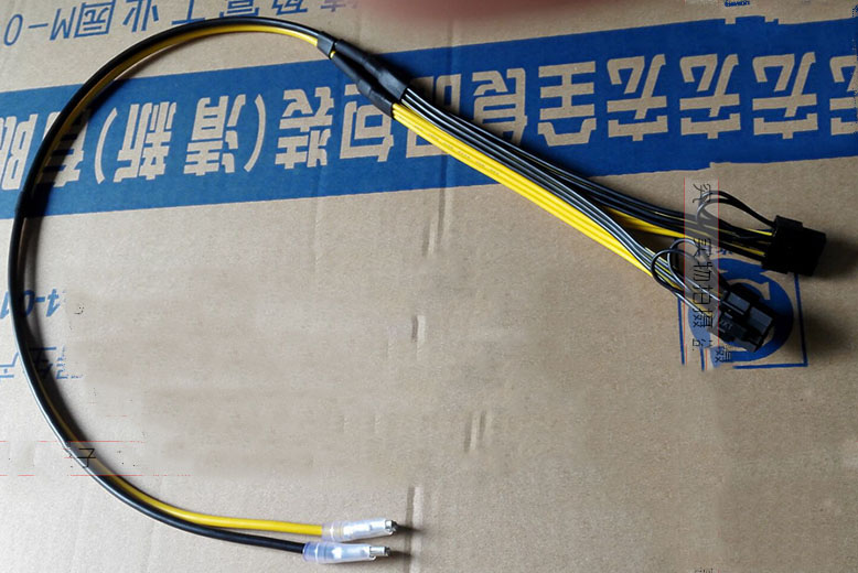 2pcs/lot Dual PCI-e PCIe Graphics Video Card 8pin 6+2pin Splitter Power Cable Cord with Terminal for RIG Miner 12AWG+16AWG 6pcs lot dual double port pci e pcie pci express 8pin graphics video card diy power flat cable cord 18awg 8pin 8pin