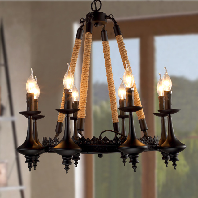 Hot sale Creative Cafe Bar Restaurant chandelier lamp designer hemp rope vintage American iron lights