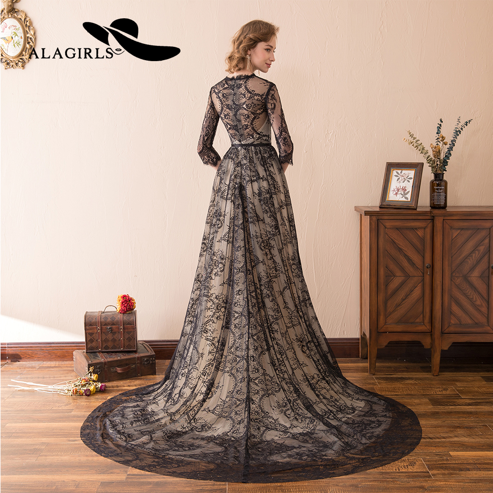Alagirls Black Lace Evening Dress 2019 A line Illusion Lace Evening Gown vestido longo New Arrival Prom Dress Party Dress in Evening Dresses from Weddings Events