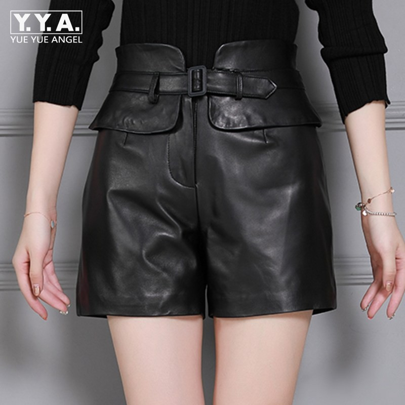 Top Quality Women Genuine Leather Sheepskin Shorts Slim Fit Drawstring Solid Black High Waist Streetweat Sashes Female Shorts
