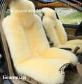 1 pc new style bege 100% da pele de carneiro natrual almofada do assento de carro almofada carro tampa de assento do carro frete grátis preço de fábrica