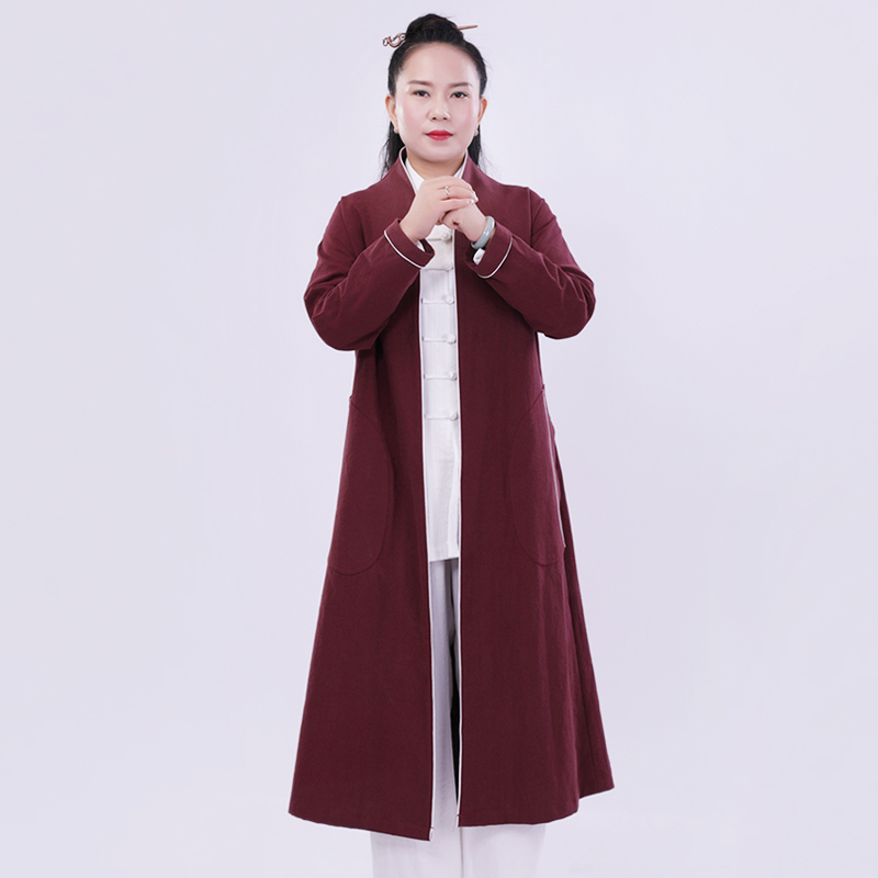 2018 New Pattern Tai Chi Outfits Robe Woman Thick Linen Long Coat Kung Fu Clothes Only One Piece Robe Burgundy And Red Colors2018 New Pattern Tai Chi Outfits Robe Woman Thick Linen Long Coat Kung Fu Clothes Only One Piece Robe Burgundy And Red Colors