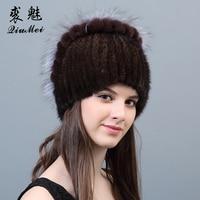 Female's Mink Fur Beanies Hat Flowers Heart 2018 Newest Natural Rabbit Fur Russian Knitting Real Mink Hat Cap Fur Women Winter