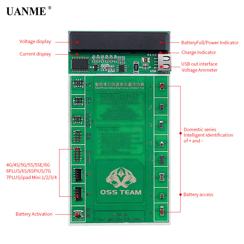 UANME 2 in 1 SmartPhone Battery Fast Charging and Activation Board For iPhone 7 7Plus 6 6s 5 5s 4 4s Mobile Phone Repair Tool