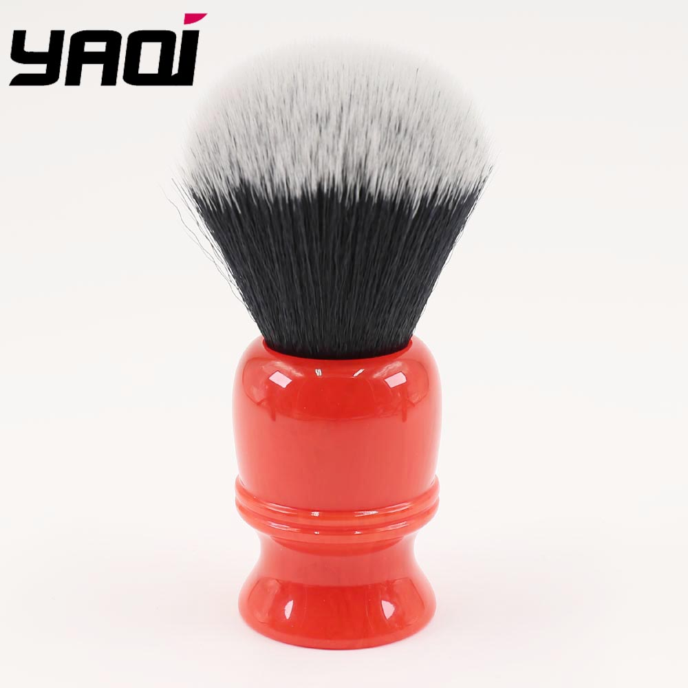26mm Red Resin Handle White/ Black Synthetic Fiber Barbershop Shaving Brushes For Men