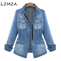 LZMZA Vintage Hole Denim Jacket Women Jeans Autumn Winter 2017 Stand Basic Jackets Coat Casual Jeans