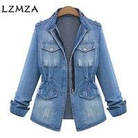 LZMZA Vintage Hole Denim Jacket Women Jeans Autumn Winter 2017 Stand Basic Jackets Coat Casual Jeans
