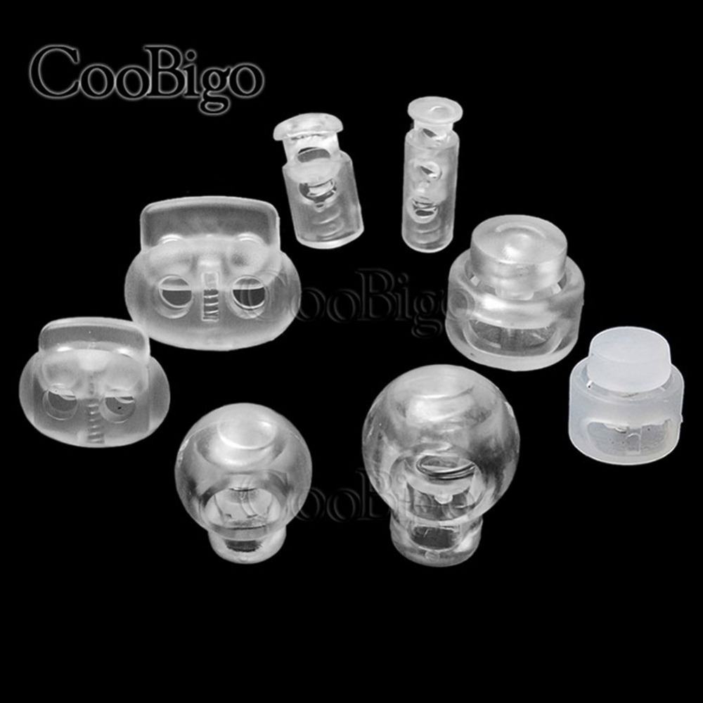 50pcs Cord Lock Plastic Stopper Cord Ends Toggles Clip Buckle Transparent Clear Frost Shoelace Sportswear DIY Bag Accessories