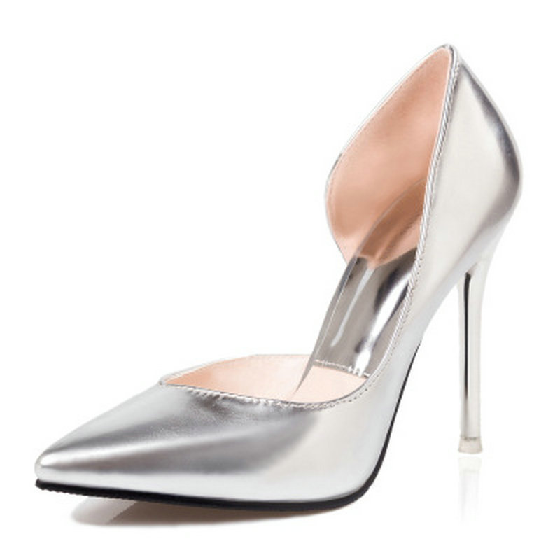 New 2017 Silver Heels Stilettos High Heels Spring Summer Red Bottom Pointed Toe Thin Heels Women Party Shoes Ladies Pumps Shoes new 2017 spring summer women shoes pointed toe high quality brand fashion womens flats ladies plus size 41 sweet flock t179