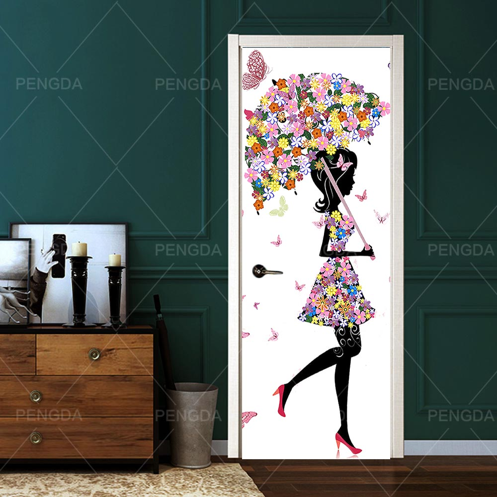 Home Decoration Paper Flower Girl Picture DIY Door Sticker Self Adhesive Decal For Living Room PVC Waterproof 3D Print Photo Art