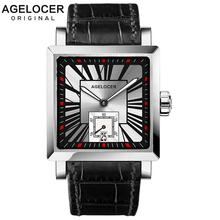 AGELCOER Swiss Men Wrist Watch Square Water Sport Watches 5ATM Waterproof  Genuine Leather Clock Male Automatic Montre Homme