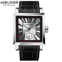AGELCOER Men Wrist Watch Square Water Sport Watches 5ATM Waterproof Genuine Leather Clock Male Automatic Montre Homme 3301A1