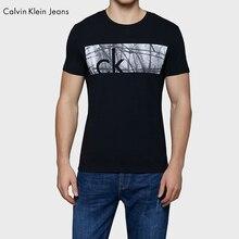Calvin Klein Jeans / CK 2017 Autumn New Men's Slim Black Fashion Short Sleeved T-shirt Men O-Neck Letter Print Tops Tees 4ASKJB4
