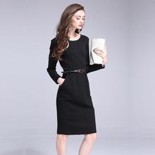 Multiflora Autumn New Solid Sheath Elegant Cotton Long Sleeve Midi Dress With Belt