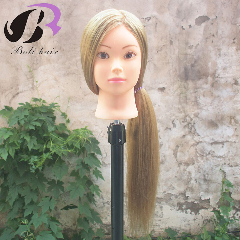 """26"""" Training Head For Hairdressers Mannequin Head Blond Hair Hairdressing Doll Heads Cosmetology Manikin Head With Clamp"""