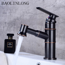 BAOLINLONG Antique Brass Basin Bathroom Faucets Deck Mount Vanity Vessel Sinks Mixer Pull Out Faucet Tap