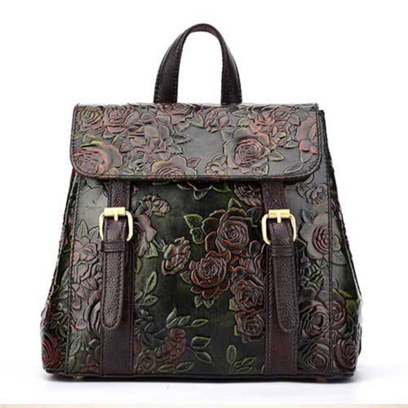 Top Quality Real First Layer Cowhide Backpack Women Vintage Daypack Student Bag Floral Designer Female Genuine Leather RucksackTop Quality Real First Layer Cowhide Backpack Women Vintage Daypack Student Bag Floral Designer Female Genuine Leather Rucksack