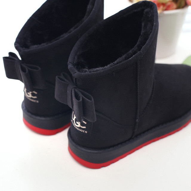 Botas de nieve nueva llegada del invierno mujeres nieve botas sapato feminino 2015 moda zapatos Calientes de bowtie mujeres botas de nieve