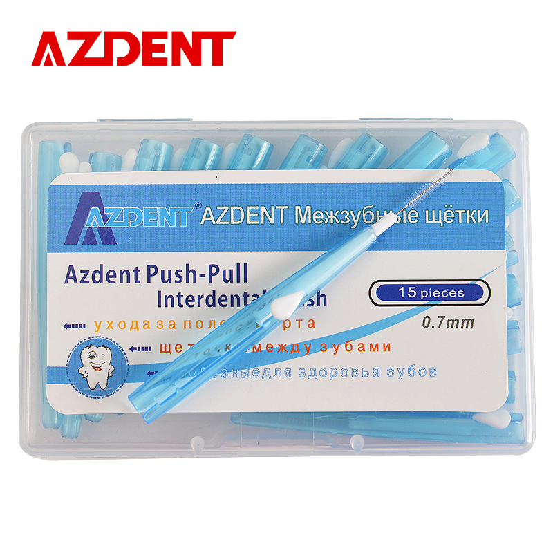 AZDENT 15 pcs / pack Berus Kawat Ortodontik Berus Gigi Push-Pull Interdental Gum Brush 0.7mm Oral Care Toothpick Tooth Whitening