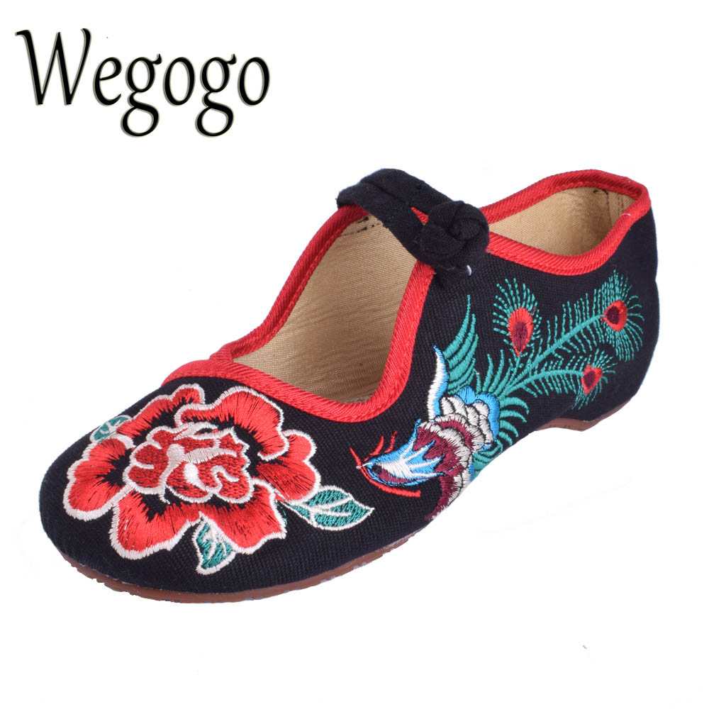 Wegogo 29 Style New Old Peking Women's Shoes Chinese Flat Heel With Flower Embroidery Comfortable Soft Canvas Shoes Plus size 41 vintage embroidery women flats chinese floral canvas embroidered shoes national old beijing cloth single dance soft flats