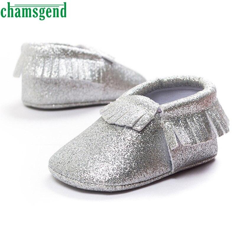Chamsgend Best продавец детские кроватки Ленточки Блёстки Обувь малыша мягкая подошва Спортивная обувь повседневная обувь для 0-2 м S35