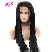 Deyngs 18 28''Long Braid Straight Lace Front Wigs Natural Synthetic Braiding Hair Wig For Black Women African American Hairstyle
