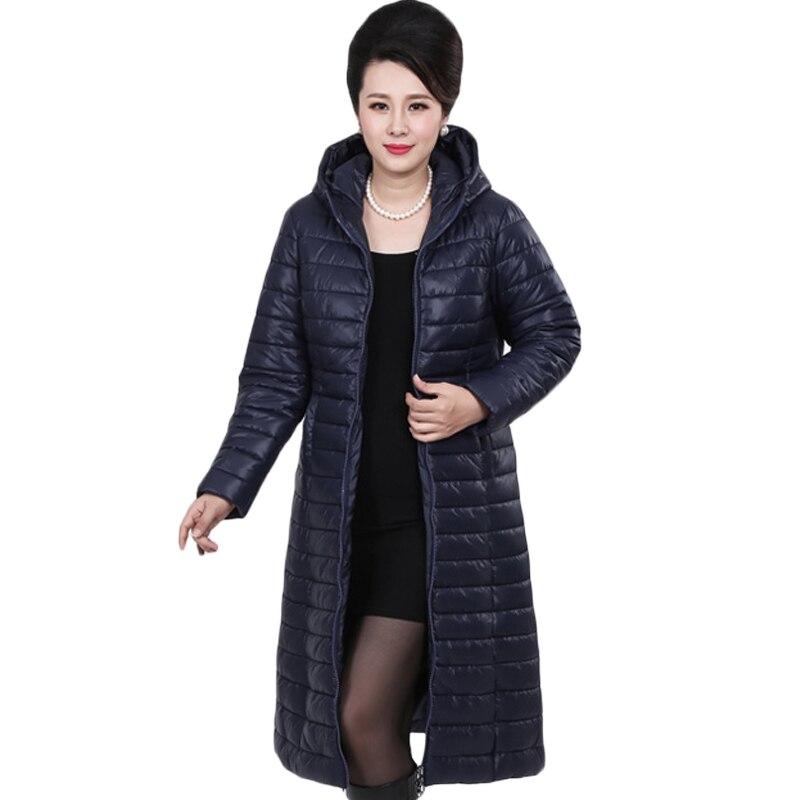 2018 6XL Plus Size Middle-Aged Ladies Long Autumn Winter Warm Coat Women Light Thin Jacket Women's Portable Mother   Parka   XH694