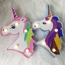 Factroy Prezzo Luce di Notte Unicorn Lampada LED Unicornio Testa Lampada Luce di Notte 3D Dipinto del capretto Per Il Regalo di Natale Del Partito decorazione Della tavola