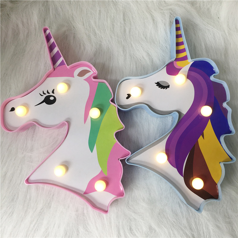 Factroy Price Night Light Unicorn Lamp LED Unicornio Head Kid's Night Light 3D Painted Lamp For Xmas Gift Party Table Decoration